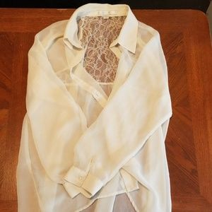 Sheer and lace blouse